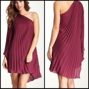 Halston Heritage One Shoulder Pleated Dress